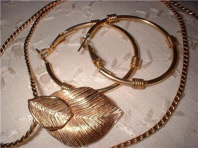 Vintage Jewelry Amway Pin Pendant Necklace Hoop Earrings Lot