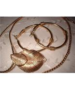 Vintage Jewelry Amway Pin Pendant Necklace Hoop Earrings Lot - $18.00