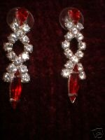 Crystal Imitation Marquise Ruby & Clear Dangle Earrings