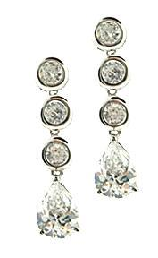 .925 Sterling Silver Russian CZ Dangle Earrings New