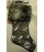Handmade Black White Dancing Skeleton Faux-Fur Holiday Christmas Stockin... - $12.99
