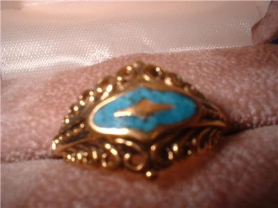 Ladies Turquoise SW Medallion Design Antique Finish Ring NIB