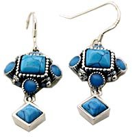 Sterling Silver Imitation Turquoise Dangle Earrings New