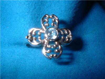 Genuine Blue Topaz Flower Sterling Ring Size 9 NIB