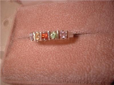 Sterling Silver Gemstone Band Ring NIB