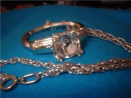 Vintage Jewelry Solitaire Ring Pendant  Chain  - $13.00