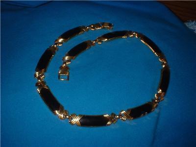 Vintage Jewelry Black  Enamel Necklace Gold Tone