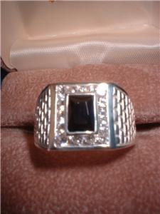 Silver Basket Weave Black Russian CZ Men's Ring NIB