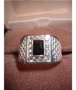 Silver Basket Weave Black Russian CZ Men's Ring NIB - $45.00