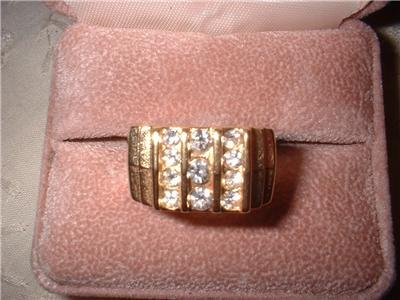Men's Ribbed Design Imitation Diamond Ring Sz 10 NIB