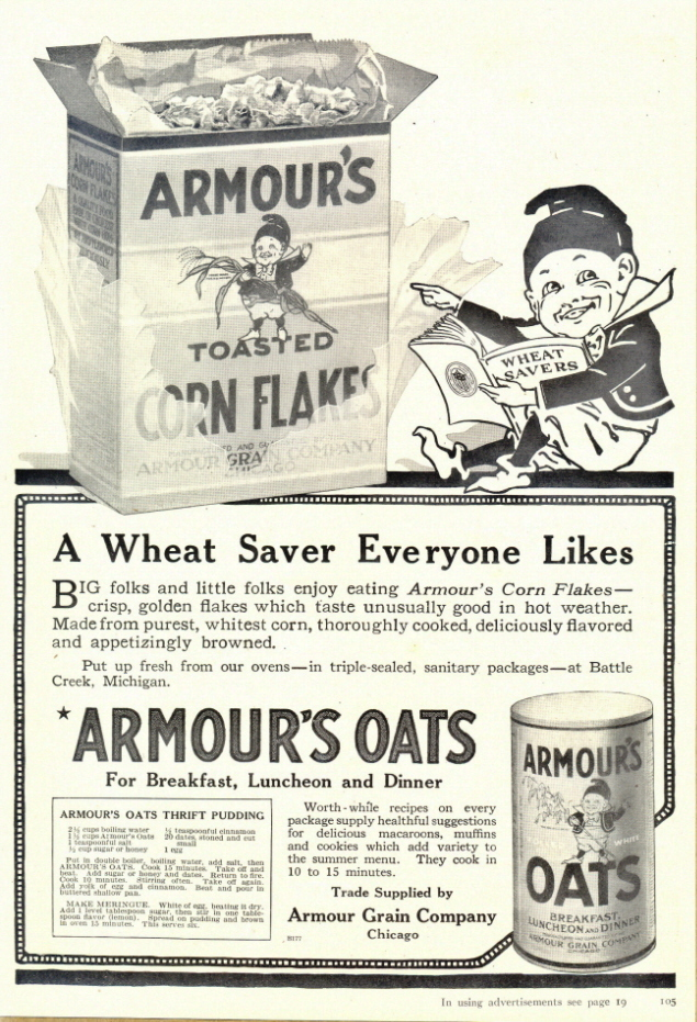 1938 Armour's Oats print ad with Thrift Pudding Recipe