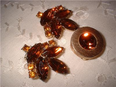 Vintage Jewelry RS Amber & Citrine Earrings Plus Dress C