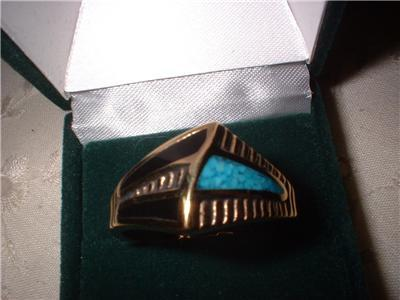 Men's Turquoise Ribbed Design Ring Size 13 NIB