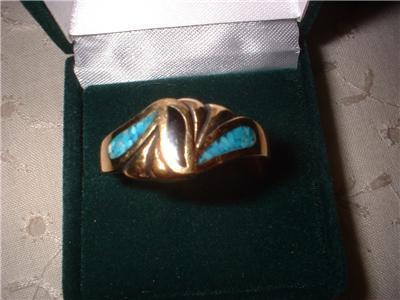 Men's Black & Turquoise Ring Size 13 NIB