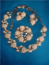 Vintage Plastic White Rose Necklace Earrings Broach - $65.00