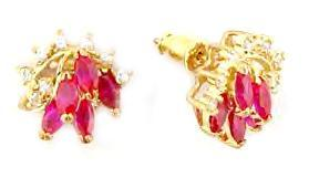 Russian CZ Ruby Red Marquise Earrings 14 K GP New