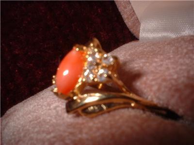Ladies Genuine Coral Marquise & CZ Ring Sz 6.5 NIB