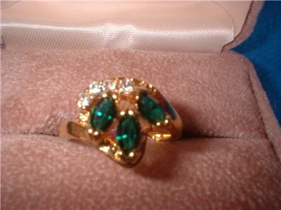 Ladies Emerald Crystal 9 Stone Setting Size Six Ring NIB
