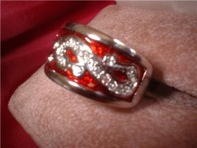 Ladies Royal Red Enamel & Swarovski Crystal Ring NIB