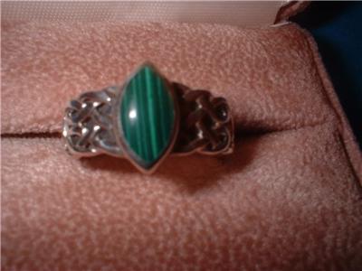 Ladies Sterling Silver Malachite Basket Weave Ring Sz 7 NIB