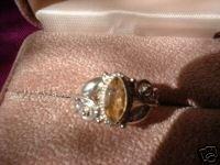 Ladies Genuine Citrine Marquise Sterling Silver Ring Sz 6 NI