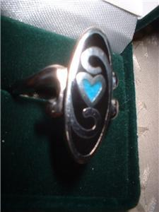 Ladies Heart Ring Turquoise Inlay Rhodium Band  NIB