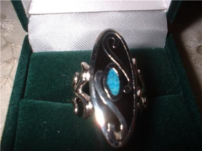 Ladies Turquoise Oval Design Inlay Rhodium Band NIB