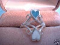 Ladies Genuine Turquoise & White Inlay Heart Ring NIB