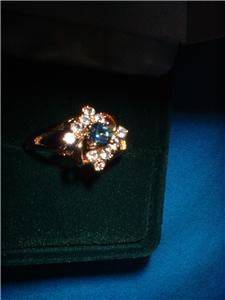 Ladies Austrian Crystal Sapphire Cluster Ring Size 7 NIB