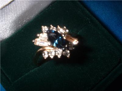 Ladies Austrian Crystal Sapphire Marquise Ring Size 8 NIB