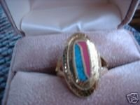 Ladies Turquoise & Coral Inlay Oval 24K GP Ring Sz 9 NIB
