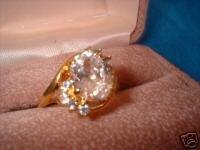 Ladies Huge Oval Imitation Diamond Ring Size 8 NIB