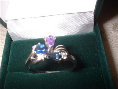 Ladies Austrian Crystal Pear & Round Dainty Ring Sz 7.5