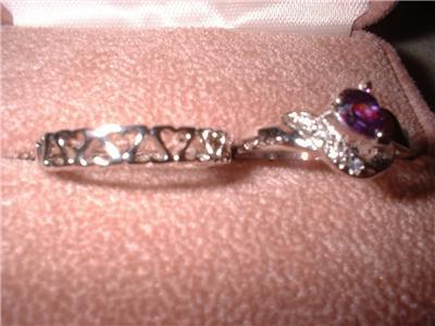 Ladies Crystal & Heart Eternity Band Ring Lot NIB
