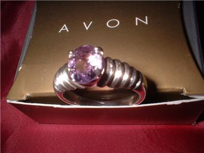 "Ladies ""AVON"" Genuine Amethyst Sterling Ring Size 11 NIB"