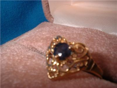 Ladies Genuine Midnight Blue Sapphire Heart Ring Sz 6.5 NIB
