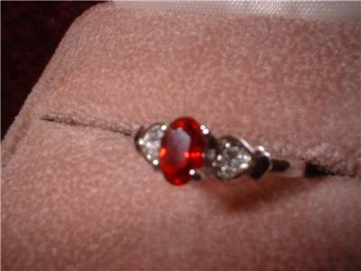 Ladies Red Garnet White Gold Plated Heart Ring NIB