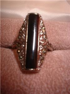 Ladies Sterling Silver Marcasite Design Onyx Ring NIB