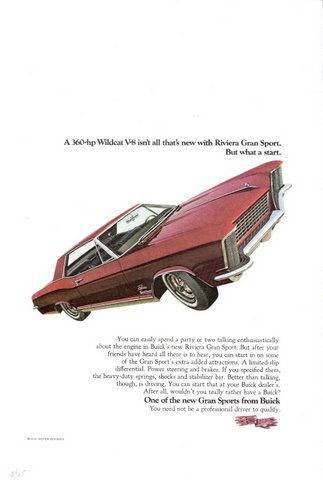 1965 Red Buick Riviera sport 360hp Wildcat V-8 print ad