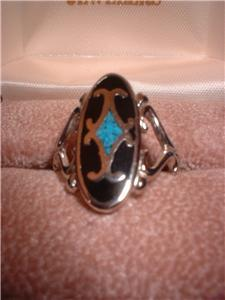 Ladies Turquoise On Black Inlay Rhodium Band Ring NIB