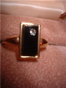 Ladies Avon Onyx & Crystal Ring Size 7.5 NIB