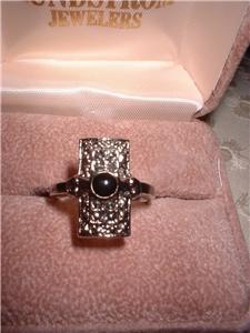 Ladies Marcasite Style Onyx Sterling Ring NIB