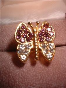 Ladies Austrian Crystal Butterfly Ring NIB