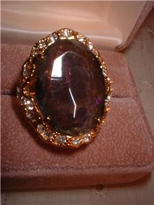 Ladies Huge Imitation Mystic Topaz Ring Size 5 NIB