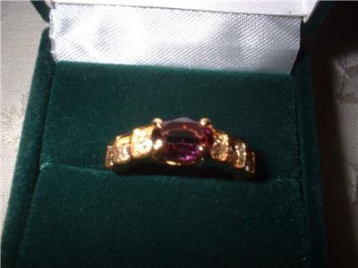 Ladies Royal Purple Crystal Band Ring NIB