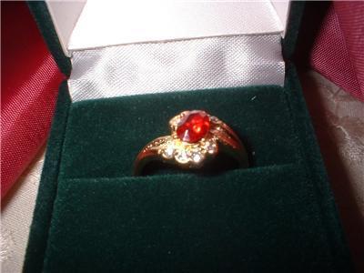 Ladies Imitation Garnet Ladies Crystal Ring Size 5.5 NIB