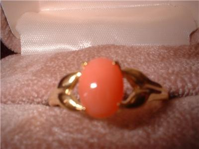 Ladies Genuine Pink Coral Ring NIB