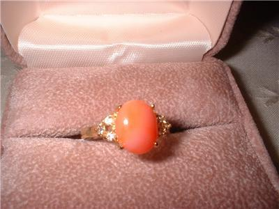 Ladies Genuine Pink Coral CZ Accents Ring NIB