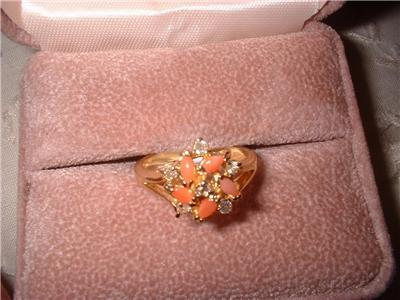 Ladies Genuine Pink Coral Dainty Ring Sz 7 NIB