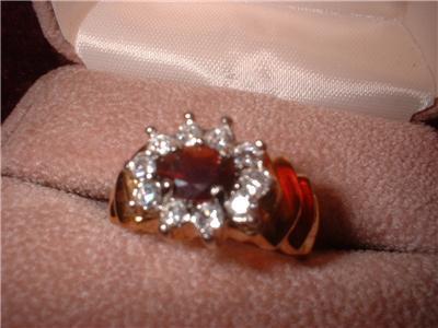Ladies Genuine Garnet Gold Plated Ring Sz 8 NIB